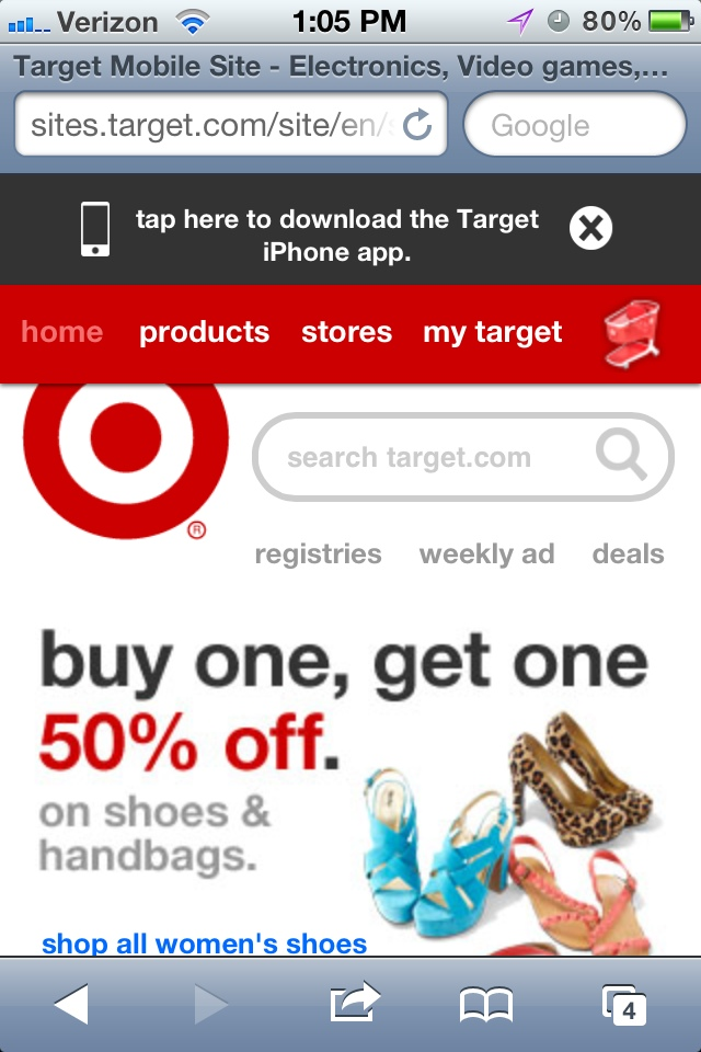 Target displays an app message
